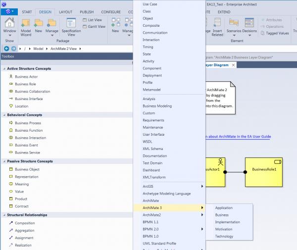 Rys 6. - Enterprise Architect 13 - nowy interfejs użytkownika